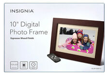 "Insignia 10"" Digital Photo Frame - Espresso Wood Finish NS-DPF10WW-16 In Box VG"