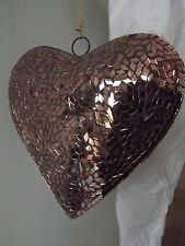 Copper Mirror Mosaic Hanging Heart Decoration 23 x 23 cm