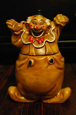 Vintage Happy Clown Hands Up Cookie Jar Canister Marked California Originals 483