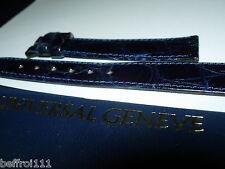 Un Bracelet cuir brillant bleu UNIVERSAL GENEVE 17 mm montre vintage chrono