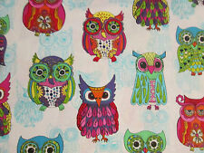 WISE OWLS  OWL TEAL AQUA INLAY COLORS COTTON FABRIC BTHY