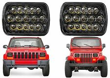 PAIR LED Black Headlights For 1986-1995 Jeep Wrangler 1984-2001 Cherokee New USA