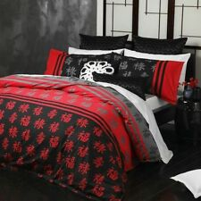 New Logan & Mason Shanghai Red Oriental Queen Size Quilt / Doona Cover Set