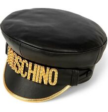 Moschino Leather Logo Hat In Black/Gold £480 Winter 2016 Runway Collection Small