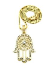 MENS NEW ICED OUT HIP HOP GOLD KHAMSA, HAMSA HAND PENDANT BOX CHAIN NECKLACE