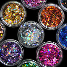 12PCS NAIL ART ACRYLIC 3D RHOMBUS GLITTER SHAPE SEQUINS POWDER SET HOT