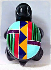 Native American Indian Jewelry Inlaid Zuni TURTLE resin pendant 3 cm