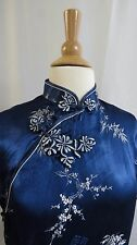 Vtg Blue Cheongsam Mandarin Collar Satin Brocade long Dress Frog Clasps