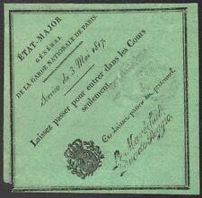 Laissez-passer. Garde Nationale de Paris 1817. Cachet Maréchal Duc de Reggio.
