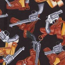 WILD WEST SALOON GUNS AND HOLSTERS Cotton Fabric BTY for Quilting, Craft Etc
