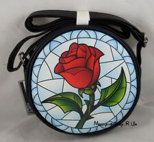 New Disney Beauty And The Beast Stained Glass Enchanted Rose Crossbody Bag Purse
