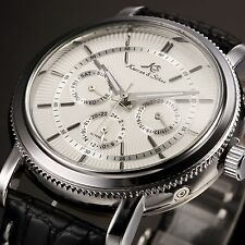 KS Silver Steel White Automatic Mechanical Day Date 24Hrs Leather Men's Watch