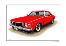 HOLDEN HJ GTS 308 MONARO COUPE   LIMITED EDITION CAR PRINT AUTOMOTIVE ARTWORK