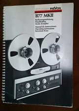 RARE !! NOTICE, DOCUMENTATION D'ORIGINE STUDER REVOX B77 MKII,, USER'S GUIDE