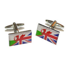 Union Jack UK British & Wales Welsh Joined Flag CUFFLINKS Present GIFT BOX