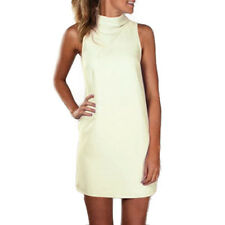 Womens Sleeveless Polo Turtle Neck Mini Dress Beach Sundress Plus Size Long Tops