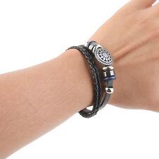 Men's Women Handmade Leather Bracelet Retro Engraved Cuff Bangles Wristband