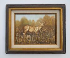 Vintage Framed Orginal Fawn Deer Hiding in Forest Hunting Painting Mid Century