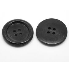 "30PCs Black 4 Holes Round Wood Sewing Buttons 30mm(1 1/8"")Dia."