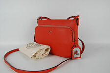 Ralph Lauren Harrington Sunkist Orange Pebbled Leather Crossbody Bag Handbag