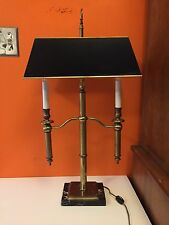 Vintage Frederick Cooper Brass Bouillotte Style Tole Lamp Library Marble Base