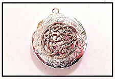 IRISH CELTIC KNOT Round Silver Plated Photo Locket on sterling 925 Chain