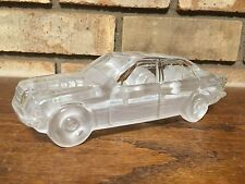 UNIQUE FROSTED GLASS CRYSTAL SEDAN CAR 4-DOOR SCULPTURE DESK PAPERWEIGHT AUTO