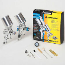 2 Devilbiss Startingline HVLP SPRAY PAINT GUNS-Basecoat Clearcoat Primer Gun Kit