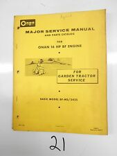 ONAN 16 HP BF ENGINE MAJOR SERVICE and PARTS MANUAL Garden Tractor