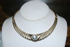 VINTAGE GOLD TONED METAL SATIN CENTER PIECE WITH RHINESTONE GOLD TONED NECKLACE