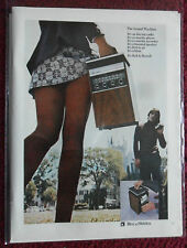 1971 Print Ad Bell & Howell Sound Machine AM/FM Radio Cassette ~ Sexy Girl Skirt