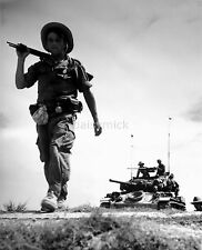French Foreign Legion Indochina Soldier & M24 Tank  6x5 Inch Reprint Photo