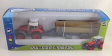 Super Power Farmer Red Tractor & Log Carrier Die Cast Metal 1:72 - No 1801-1D