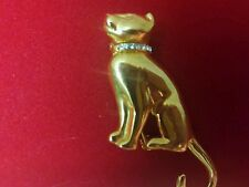 Pretty Goldtone Cat Pin..w/ a crystal collar..great condition..look!!