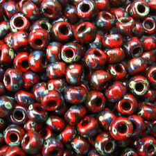 Picasso Red Garnet Matte 22 Grams Miyuki 8/0 Seed Bead  22 Gram