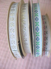 Lot of Woven Flowers Offray Ribbons 4 Spools Silver Green and Blue and Cherries