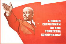 "Russian Soviet Lenin ""Ahead to communism"" big poster"