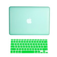 "2 in1 Rubberized GREEN Hard Case for Macbook White 13"" A1342 with Keyboard Cover"