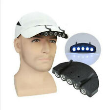 5 LED Clip Hat Cap Lamp Light Headlamp Camping Hiking With Batteries Fishing hs