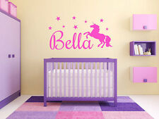 """Personalized Girls Unicorn Name Monogram Wall Decal Graphic Sticker 22"""" Tall"""