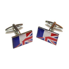 Union Jack UK British & France French Joined Flag CUFFLINKS Present GIFT BOX