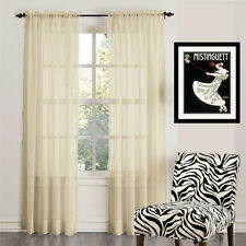 """Empire 2-Piece Sheer Voile Window Treatment Curtain Panel Drapes Solid 84"""" Long"""