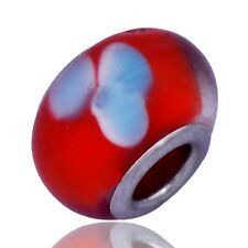 5Pcs Flower Charm Red Murano Glass lampwork Bead Silver Filled Bracelet