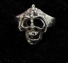 Estate Vintage Sterling Silver Detailed Skull With Teeth & Helmet Size 9.5 Ring