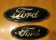 "2011-2014 Ford Edge, Gloss black 9"" grill & 7"" lift gate emblems 3D"