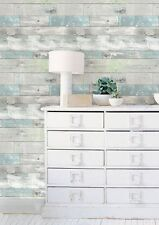 Wallpops Realistic Beachwood Peel and Stick Blue Grey Green White NU Wallpaper