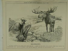 "7x10"" PUNCH cartoon 1911 RECIPROCITY american eagle / canada moose"