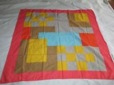 Vintage MARIMEKKO Scarf Color Block Pink Gold Blue Gray Brown Geometric Print