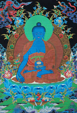 """24"""" BROCADED BLESSED WOOD SCROLL BLESSED TIBET THANGKA: BLUE MEDICINE BUDDHA"""