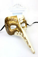 Mens Long Nose Venetian Masquerade Mask Mardi Gras Ivory & Gold Fancy Dress
